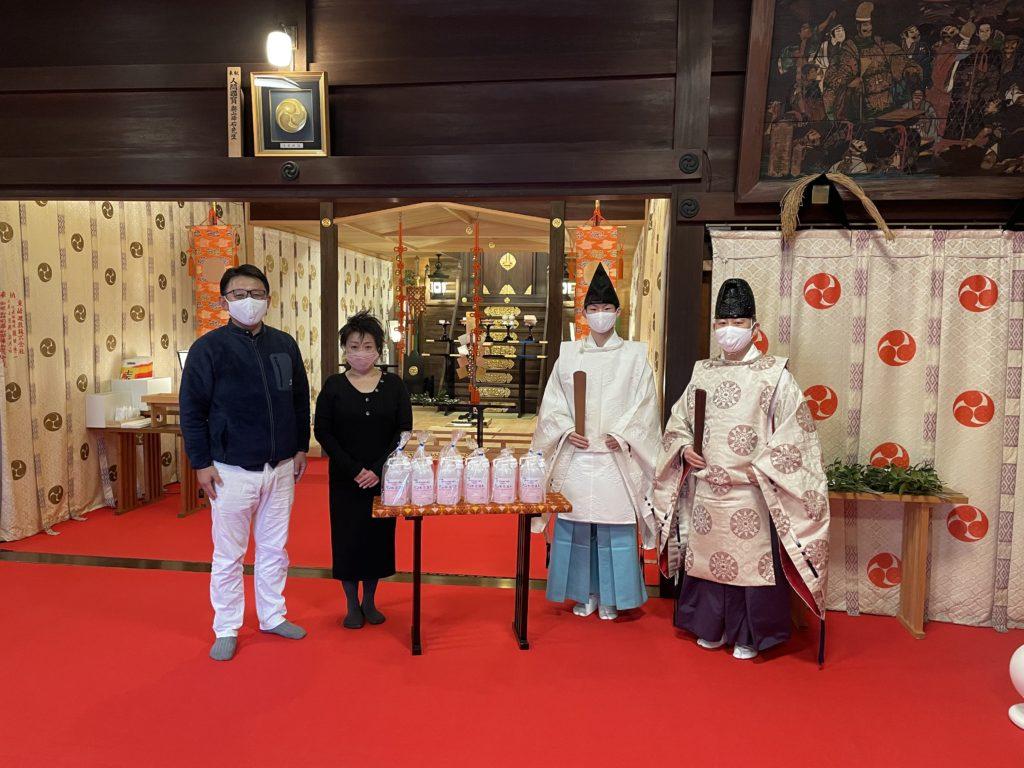 初詣に向けて南谷戸自治会様よりアルコール洗浄液が奉納されました